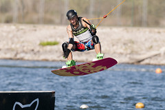 CFR7729 (Carlos F1) Tags: barcelona park water sport rio river canal jump spain agua nikon board extreme transport cable 300mm deporte salto wakeboard channel xtreme tabla transporte kneeboard olimpic ocp castelldefels d300 fise wakeskate boardsports