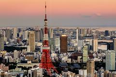 Tokyo - Mori Tower - 01 (coopertje) Tags: city sunset japan skyline architecture night tokyo evening traffic tokyotower roppongi roppongihills moritower