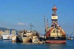 Moby Corse Costa Concordia Saipem 1000 (PhillMono) Tags: cruise italy costa ferry boat nikon rust ship harbour corse vessel genoa oil concordia moby dslr wreck scrap 1000 drill saipem d7100