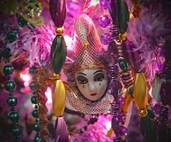 Such a Sad Face (BKHagar *Kim*) Tags: christmas tree green gold beads swan purple mask jester fleurdelis bkhagar