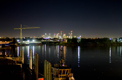 Brady Island downtown view (hp181san) Tags: nightphotography skyline buildings downtown ship texas availablelight houston maritime handheld tugboat nautical pilot houstonshipchannel pilotage portofhouston canon7d