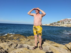 IMG_3404 (griffpops_deptford) Tags: sea beach swimming malta shirtlessmen hairymen smoothmen menatthebeach menwithbeards stpaulsbaymalta menintrunks