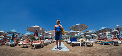 Parasols and sky. (CWhatPhotos) Tags: cwhatphotos people marmaris olympus samyang fisheye fish eye 75mm wide angle prime lens water holiday june 2015 photographs photograph pics pictures pic image images foto fotos photography artistic that have which contain digital bythe bikini blue turkey sea beach wear sand walk sky skies clear day hot sunny sun aegeonn aegean turkish hols