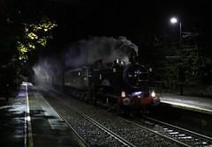 The Pannier rambler at Barnt Green (Andrew Edkins) Tags: 9466 d1755 panniertank barntgreen lickeybank steamtrain pannierrambler class47 47773 vintagetrains uksteam tankengine geotagged locomotive night trees