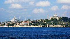 The Historical View (cokbilmis-foto) Tags: istanbul sultanahmet camii cami sultan ahmet ayasofya mzesi mosque mosques wall historic historical glhane parki topkap saray waterfront cityscape seascape sony rx100 architecture wood trees buildings park old hagia sophia bosphorus blue sky water sea clouds