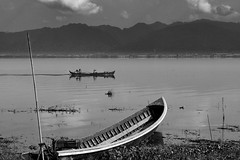 Pass by (Rico the noob) Tags: 50mm landscape ships nature water mountains outdoor boats clouds published ship fishing sky travel d5500 2015 bw blackandwhite boat myanmar 50mmf18 lake beacheslandscapes