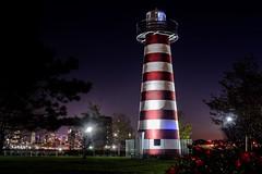 Down by the Riverside (Lojones13) Tags: lighthouse night jerseycity riverside outside nightscape park