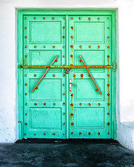 Barred (Kevin R Thornton) Tags: d90 nikon travel barred mediterranean green locked mykonos greece door mikonos egeo gr