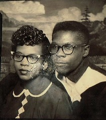 Photo Booth (~ Lone Wadi Archives ~) Tags: photobooth portrait couple blackpeople africanamerican lostphoto foundphoto retro 1950s mysterious unknown samtown alexandrialouisiana