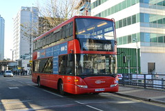 Go Ahead Metrobus Scania OmniDekka 967 YT59DYM at South Quay DLR Station (Mark Bowerbank) Tags: go ahead metrobus scania omnidekka 967 yt59dym south quay dlr station