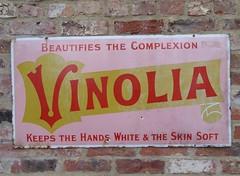 Vinolia Beautifies the Complexion! (Terry Pinnegar Photography) Tags: beamish museum countydurham sign advertisement vitreous enamel metal vintage edwardian antique vinolia cream