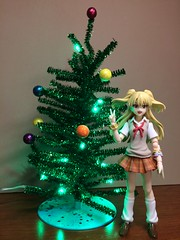 Rika Poses by the Christmas Tree (Sasha's Lab) Tags: rika jougasaki  idolmaster high school girl teen idol passionate uniform fuku christmas tree lights ornaments figma action figure