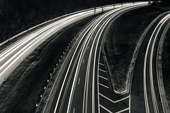 Day 5: High Angle (Mikey Tapscott) Tags: light trail trails highway cars black white dc gw parkway key bridge 30 day photo photography challenge nikon d700