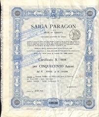 SAIGA PARAGON S.P.A. (scripofilia) Tags: 1965 azioni paragon saiga saigaparagon