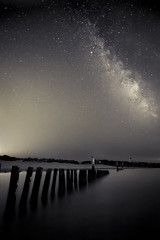 Wittering Milky Way-1 (JSMJSM) Tags: longexposure sea england west art beach night stars sussex sticks sand nightscape fineart balckandwhite posts silouhette chichester witterings milkyway westwitterings meteorshower