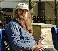 Lunchtime in Birmingham 02 (Row 17) Tags: city uk greatbritain england people urban man men hat beard birmingham unitedkingdom candid hats gb westmidlands birminghamuk