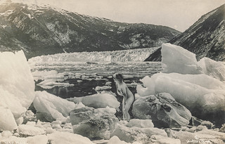 Nude woman in the middle of a glacier