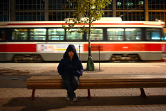 Nico (Ian Muttoo) Tags: boy toronto ontario canada bench sitting ttc gimp motionblur sit streetcar nico nuitblanche 2015 torontotransitcommission ufraw nuitblanche2015 dsc44471edit