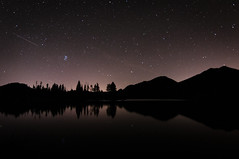 Sprague Lake at Night (Patrick.Russell) Tags: longexposure lake reflection nature water night stars landscape outdoors nikon colorado outdoor co rockymountain serene rmnp frontrange tranquil sprague d300