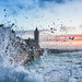 Wild Sunset (nosha) Tags: ocean uk sunset sea storm tower beautiful beauty cornwall waves clocktower shore foam porthleven