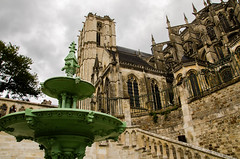 Cathdrale (Aurlien Anne Photography) Tags: france green fountain cathedral vert cathdrale mans le fontaine