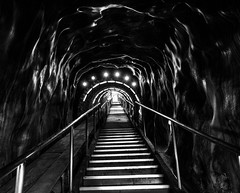 Salt mine (crystyradulescu) Tags: light shadow stairs blackwhite stair mine salt shapes tunnel line odd staircase romania shape tunel leadinglines turda