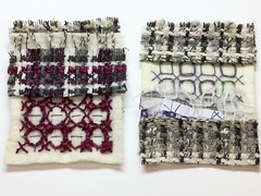 Sampling (ChristineB16) Tags: city wool landscape design pattern purple stitch embroidery heather yarn explore sample tweed moorland chickenscratch