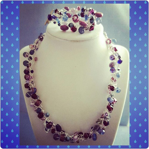 Wire crochet necklace and bracelet   #njscreations #jewelrymaking #jewelry #bracelets #beading #necklaces #wirecrochet #purple