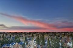 November Sunrise Supermoon setting (John Andersen (JPAndersen images)) Tags: bridges calgary clouds elbowriver fall hdr leefilter skyline sunrise