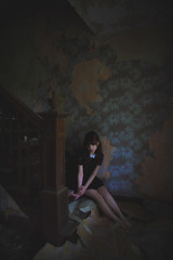 (yyellowbird) Tags: winter wallpaper house selfportrait abandoned girl stairs illinois cari