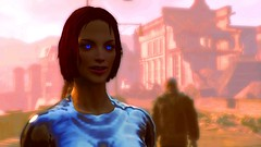 278 (Beth Amphetamines) Tags: pink blue wallpaper woman screenshot eyes body metallic redhead institute glowing lipstick cyborg director commonwealth wasteland colossus cybernetic robotic fallout4