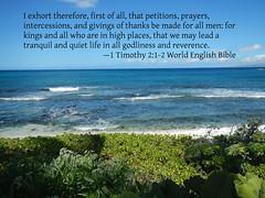 1 Timothy 2:1-2 (kahunapulej) Tags: pacific ocean shore hawaii waikoloa usa 1 timothy 212 world english bible holy scripture