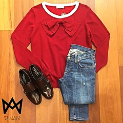 Maglia rossa con fiocco, jeans e scarpe con fibbia! Outfit per tutti i giorni! (melissaagnoletti) Tags: outfit abbigliamentodonna maglia fiocco jeans jeansdonna moda