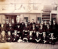 Staff of the NSS SOBRAON (Australian National Maritime Museum on The Commons) Tags: hmastingira navy sailors bwphotograph nsssobraon sydneyharbour rosebay berrysbay