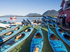 Sea Kayaks (Seth GaleWyrick) Tags: olympus omd em5 1240f28 seakayaks blue tofino bc britishcolumbia canada ocean boat water sea mountains