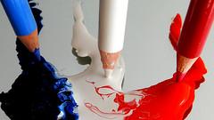 3 couleurs (on Explore, October, 2016) (M. Carpentier) Tags: macromondays pens pensilspaperclips bleu blanc rouge blue white red paint peinture série groupe series group colors couleurs