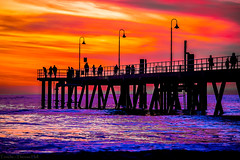 Sunset at Glenelg Beach, Adelaide (Theresa Hall (teniche)) Tags: adelaide australia australia2016 canberra glenelg glenelgbeach southaustralia teniche tenichetheresahall theresa theresahall beach beachside color colour landscape outdoor outdoors sunset