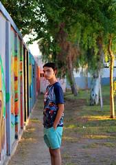 (jasmine.pliegod) Tags: photoshoot tree park graffiti wall green colorful insense boy model canon
