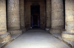 Ägypten 1999 (512) Tempel von Dendera (Rüdiger Stehn) Tags: tempel afrika ägypten egypt nordafrika 1999 winter urlaub dia analogfilm scan slide 1990er oberägypten 1990s südägypten aṣṣaʿīd diapositivfilm analog kbfilm kleinbild canoscan8800f canoneos500n 35mm misr مصر altägypten altertum archäologie antike sakralbau bauwerk historischesbauwerk archäologischefundstätte ägyptologie ruine dendera tempelvondendera tempelanlage hathortempelvondendera hypostyl innenaufnahme دندرة dandarah unescoworldheritagenomination welterbe unescowelterbenominierung reise reisefoto ptolemäerzeit rüdigerstehn