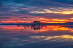 Pink Island (shanahanphotography) Tags: autumn landscape sunset nature northcarolina water beauty lake durham orange clouds goldenhour trees blue bluehour nc beautiful raleigh pink magichour fall pinkminutes longexposure chapelhill yellow firstinflight jordanlake