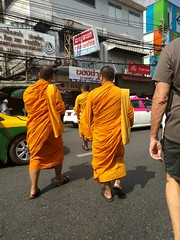 How to cross the street in Thailand - follow the monks (ashabot) Tags: bangkok monks buddhistmonk buddhistmonks thailand travel traveltips