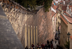 The Wall (dlerps) Tags: czech czechrepublic daniellerps prague praha sonyalphaa77 lerps prag tschechien sony sonyalpha sigma a77 sonyalpha77 sonya77 europe europa malastrana praguecastle wall stairs staircase people crowd pražskýhrad castle stronghold urban city