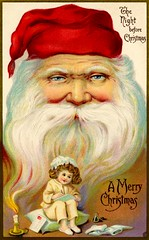 Santa's Watching (Alan Mays) Tags: ephemera postcards greetingcards greetings cards christmascards paper printed christmas xmas december25 holidays christmaseve evening nightbeforechristmas night santaclaus santa men beards hats children girls candles flames materialize writing letters strange unusual red green blue antique old vintage typefaces type typography fonts postcardseries series522a