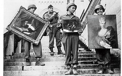 #American soldiers carry rescued paintings down the steps of Neuschwanstein Castle in Bavaria, which was used by the Nazis to store thousands of treasures stolen from French collectors, including the Rothschilds - 1945 [1240x775] #history #retro #vintage (Histolines) Tags: histolines history timeline retro vinatage american soldiers carry rescued paintings down steps neuschwanstein castle bavaria which was used by nazis store thousands treasures stolen from french collectors including rothschilds 1945 1240x775 vintage dh historyporn httpifttt2fpsbvr