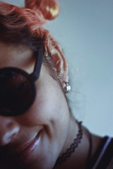 : ) (TheJennire) Tags: photography fotografia foto photo canon camera camara colours colores cores light luz young tumblr indie teen smile dimple happy hair buns coralhair people portrait self forever21 sunglasses shades girl 50mm smotion style fashion
