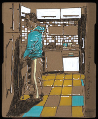 Am Schnippeln (connykunze) Tags: room appartement flat wall furniture furnishings cupboard sketching location drawing sketchbook interior fineliner pen lines cozy marker colorful cardboard berlin home