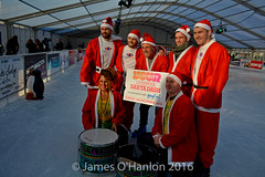 Smith brothers, Tinhead, Alan Kennedy and 2 members from Katuma (James O'Hanlon) Tags: santadash santa dash katumba liam smith paul stephen liamsmith paulsmith stephensmith alankennedy philipolivier tinhead alan kennedy btr juliana ritchie photo shoot press ice rink icerink lfc