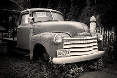 830b WM B+W 500x333 (Jerry Fornarotto) Tags: 49chevytruck 1949chevytruck antique antiquecar automobile bw blackandwhite bumper car chevrolet chevy chrome classic classiccar front grill headlight jerryfornarotto old red retro transportation truck vehicle vintage