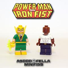 Power Man and Iron Fist (agoodfella minifigs) Tags: lego marvel marvellego legomarvel minifigures marvelcomics comics heroes avengers defenders ironfist powerman heroesforhire superheroes minifigure customminifigures