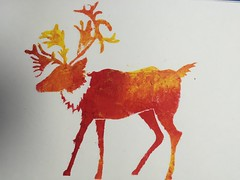 Christmas Stencil (ShaneLeviSpeed) Tags: sketch book christmas stencil raindeer deer sponge colour paint red yellow orage light dark